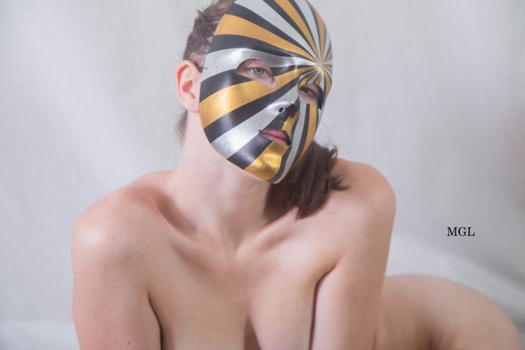 Nude Masquerade Mask Modeling